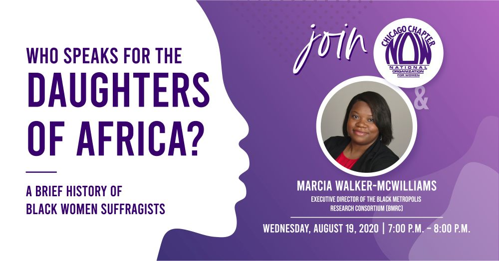 CNOW Virtual Event with Marcia Walker-McWilliams, Honoring Black Suffragists on the 19th Amendment Centennial|Wednesday, August 19, 2020|7:00 P.M. - 8:00 P.M.